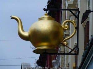 A big golden teapot
