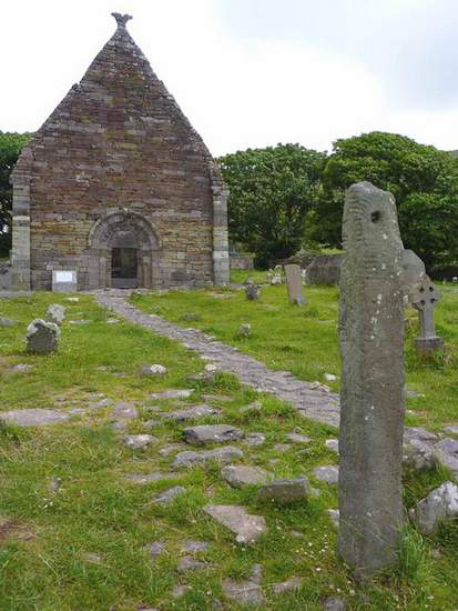 Kilmalkedar Church with Ogham Standing Stone