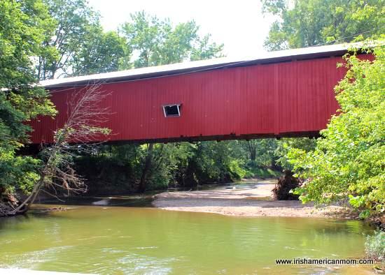 Red covered bridge in America
