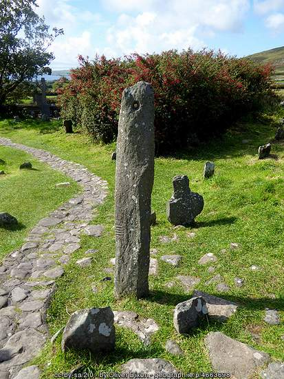 Standing Stone with ogham carvings in a County Kerry graveyard