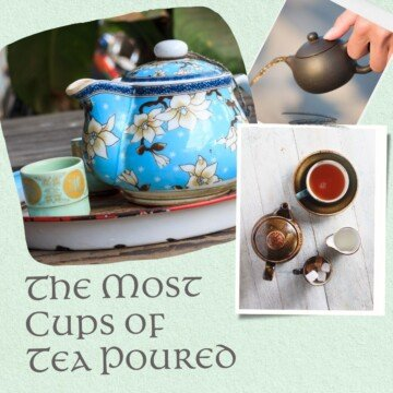 Tea pots and cups in a graphic with text overlay