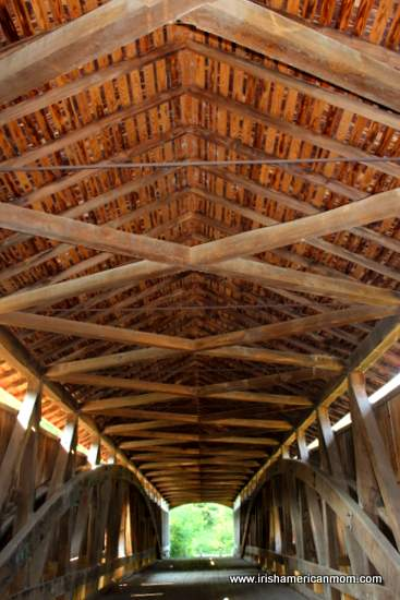 The ceiling of a wooden covered bridge in the USA