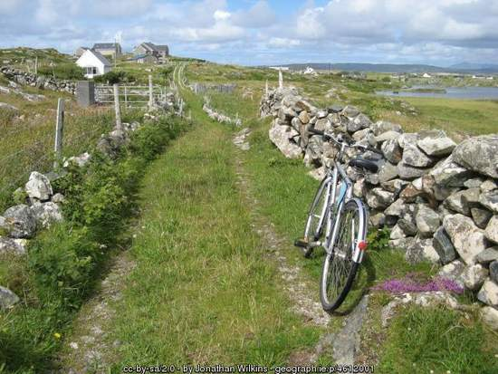 Bicycle by an old Irish stone wall in County Galway
