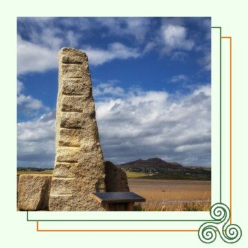 Standing stone in a field in a graphic with a Celtic knot