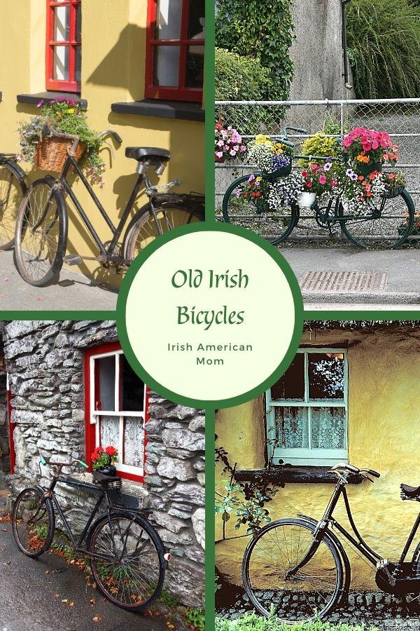 Old bicycles with flower basket displays