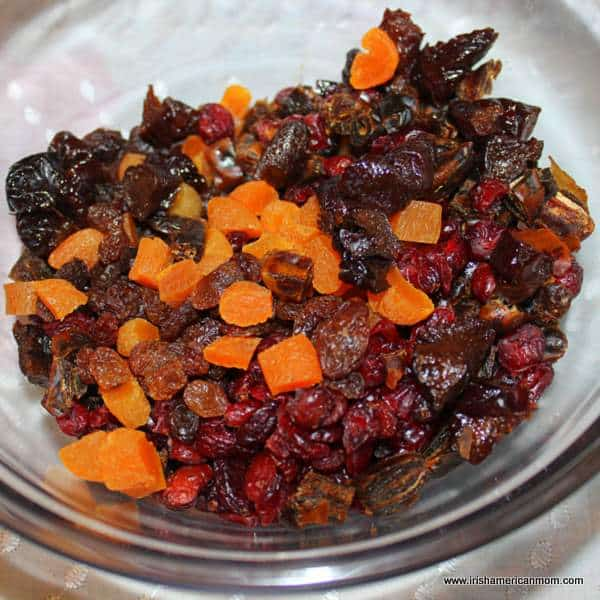 Chopped dried fruit in bowl