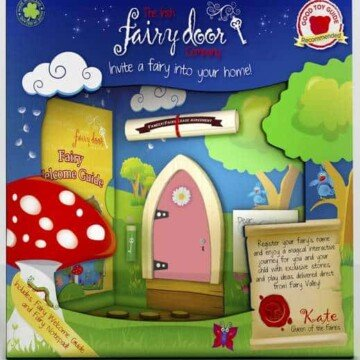 Cute packaging displays a pink Irish fairy door