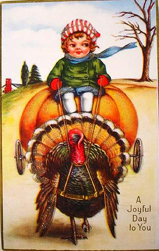 Pumpkin carriage drawn by a turkey