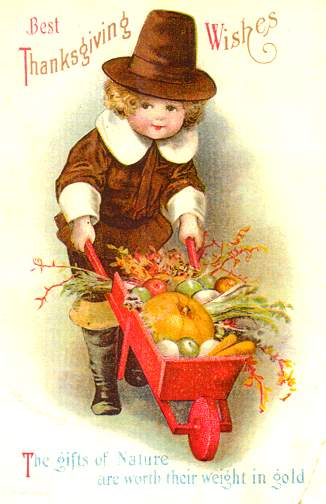 Thanksgiving Boy with wheelbarrow