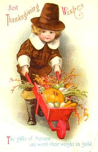 Thanksgiving Boy with wheelbarrow