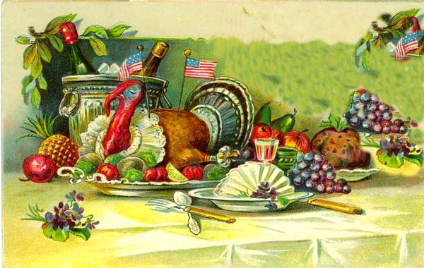 American themed Thanksgiving table from the 19th century