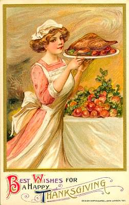 Turkey on a platter - vintage image
