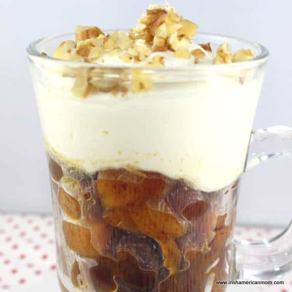 Yogurt and cream topping for dried fruit salad