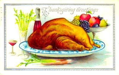 A turkey on a platter on a Thanksgiving greeting card