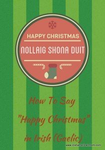 Green striped graphic on how to say Happy Christmas in Irish or Gaelic