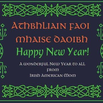 Athbhliain faoi mhaise daoibh graphic in black with green Celtic designs