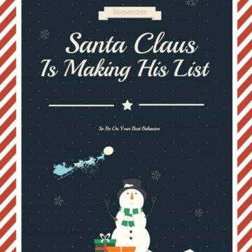 Christmas graphic for with Santa Claus flying over a snowman