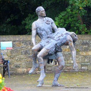 Irish art sculpture showing Ferdia carrying Cú Chulainn