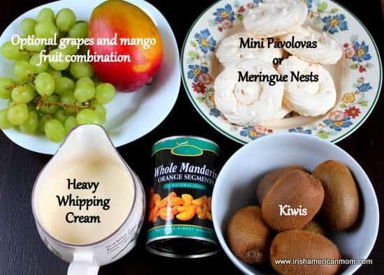 Ingredients for Irish Flag fruit and cream parfait