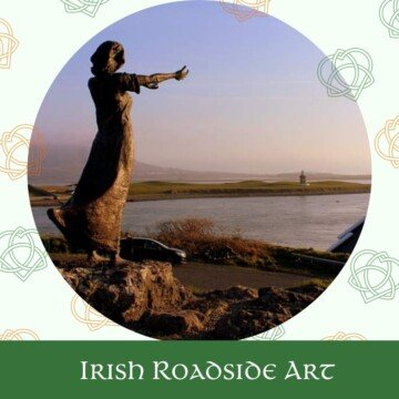 Roadside sculpture of woman on a graphic with Celtic symbols and text overlay