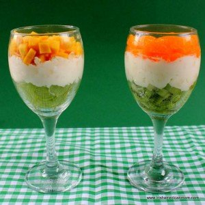 Mango and grapes or kiwi and mandarin oranges for Irish flag desserts
