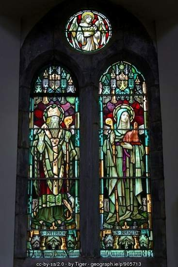 Stained Glass Window of St. Patrick and St. Brigid in S. Joseph's Church, Clifden, Co. Galway