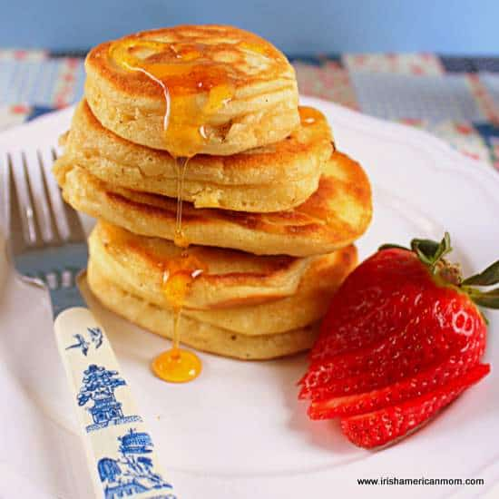 A stack of small Irish buttermilk pancakes