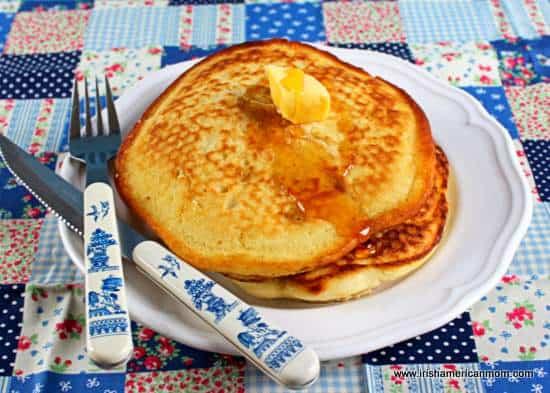 Butter and honey on Irish buttermilk pancakes