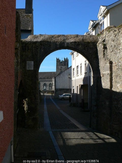 Kilkenny city's old medieval stone walls with a view of Black Abbey