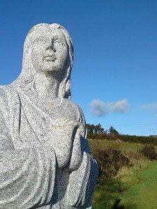 Saint Brigid statue head shot