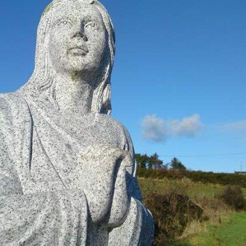 Saint Brigid statue head shot