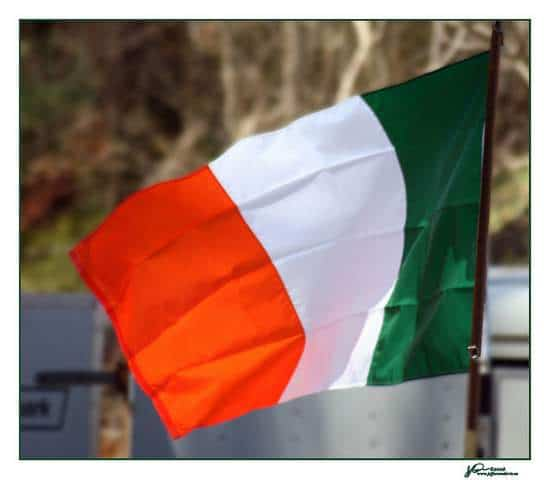 The Irish flag a green white and orange tricolor