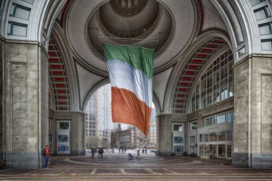 The world's largest Irish flag in Boston, Massachussets, USA