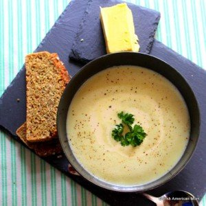 Irish potato soup photographed from above