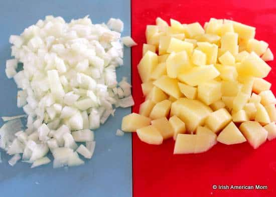 Diced onion and potato for Irish potato soup