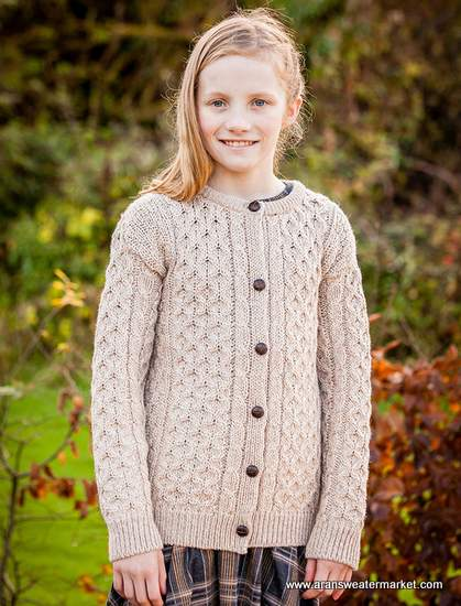 Kid's Traditional Aran Merino Wool Cardigan from the Aran Sweater Market