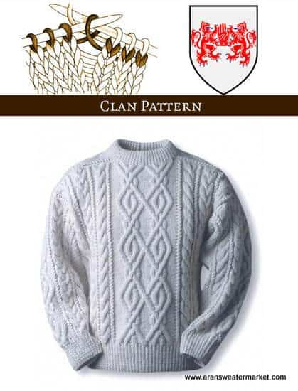 O'Neill Clan Aran Sweater Knitting Pattern