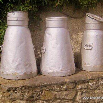 Three light steel creamery containers