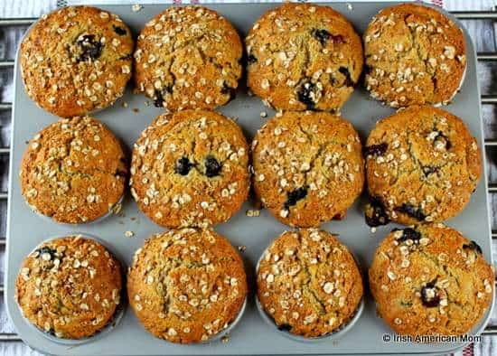 Baked blueberry banana muffins fresh out of the oven
