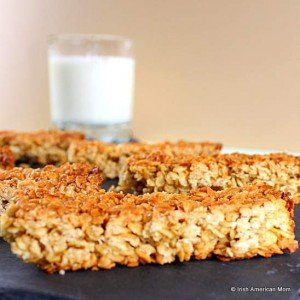close up view of an Irish oat flapjack