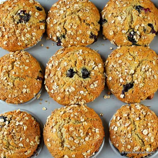 Blueberry Muffins with oatmeal and banana