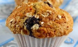 close up of blueberry oatmeal banana muffin