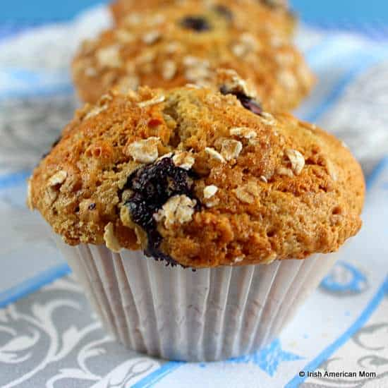 Blueberry banana oatmeal muffin