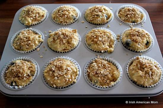 Blueberry muffins ready for the oven