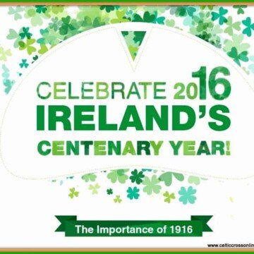 Text on a white graphic with green shamrocks for 1916