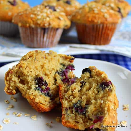 Inside of a blueberry banana oatmeal muffin