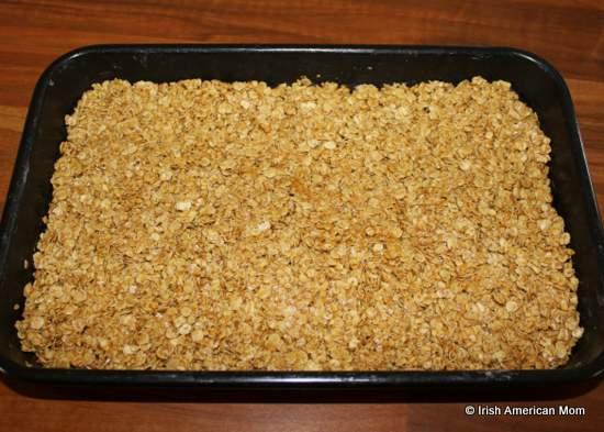 Irish flapjack mixture in a pan before baking