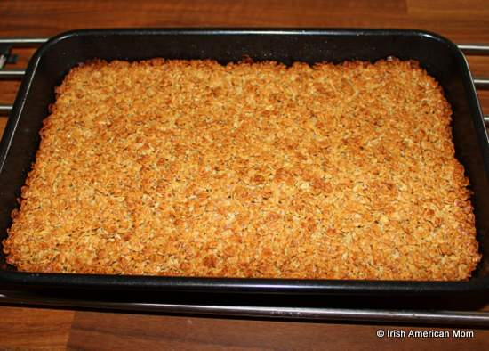 Irish oat flapjacks in a pan just out of the oven
