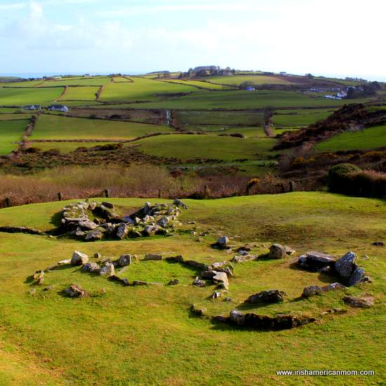 The remains of the dwelling quarters at Drombeg Stone Circle County Cork