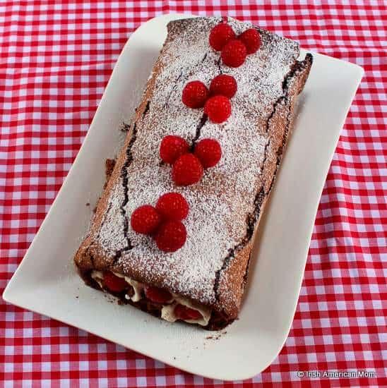 Chocolate roulade with raspberries and cream a favorite Irish cake